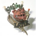 Drachenbrosche, Kupfer, 925- Silber, Perlen, Koralle