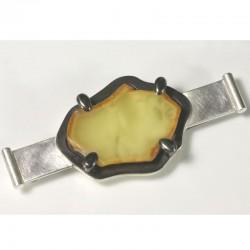 Brooch, 925 silver, amber
