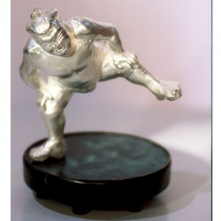 Pepper and salt shaker, Sumo wrestler, 925 silver, copper