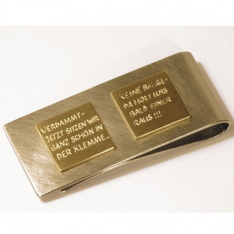 Money clip, 750 gold, stainless steel