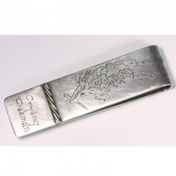 Money clip, stainless steel, dragon