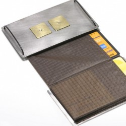 Credit card holder, stainless steel, 750 gold, diamonds