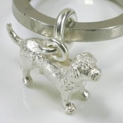 Schlüsselanhänger, 925 Silber, Hund