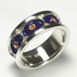 Eye ring, 925 silver, cold enamel