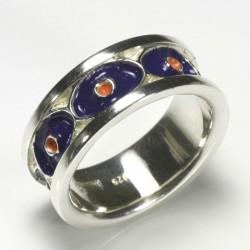 Eye ring, 925 silver, cold enamel
