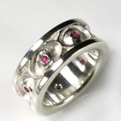 Augenring, 925- Silber, Rubine