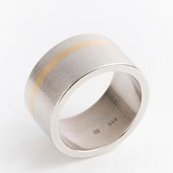 Ring, 925- Silber, 750- Goldstreifen