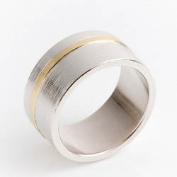 Ring, 925 silver, 750 gold stripe