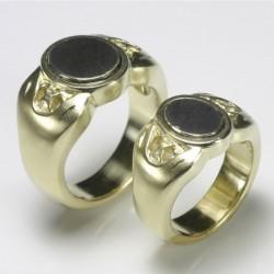 Wedding rings, signet rings, 750 gold, 925 silver