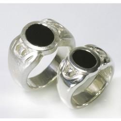 Partner rings, signet rings, 925 silver, onyx