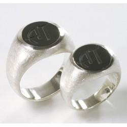 Wedding rings, signet rings, 925 silver, onyx