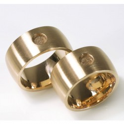 Domed wedding rings with fingerprint, 750 red gold