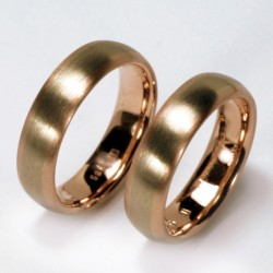 Domed wedding rings, 585- white gold and rose gold