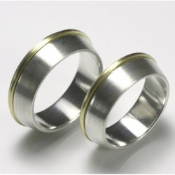 Bicolor wedding rings, 925- silver, 750- gold