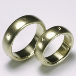 Domed wedding rings, 585 gold