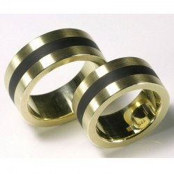 Wedding rings, 585 gold with cold enamel