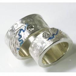 Eheringe, 925- Silber, Rheinverlauf, Brillanten