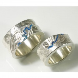 Wedding rings along the Rhine, 925 silver, brilliant-cut diamonds