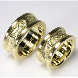 Wedding rings with traces, 750 gold