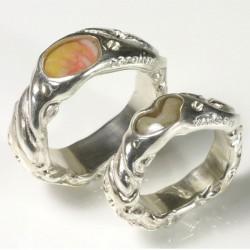 Eheringe, 925- Silber, Muschel und Koralle