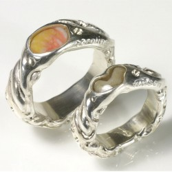 Wedding rings with shell and coral, 925 silver
