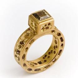 Ring, 750- Gold, gelber Granat