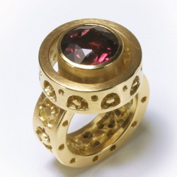 Ring, 750 gold, tourmaline