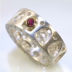Ring, 925- silver, 750- gold, ruby