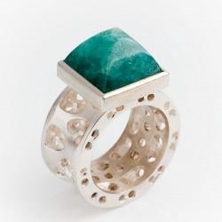 Ring, 925- Silber, Smaragd Pyramide