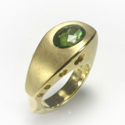 Ship ring, 750 gold, tourmaline