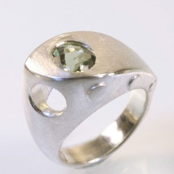 Ship ring, 925 silver, tourmaline