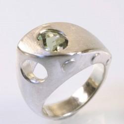 Ship ring, 925 silver, tourmaline