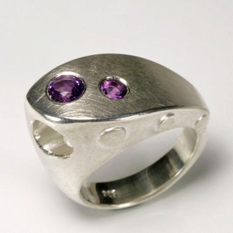 Ship ring, 925 silver, amethyst