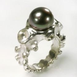 Octopus ring, 925 silver tahitian pearl