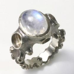 Octopus ring, 925- silver labradorite