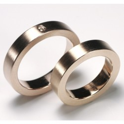 Wedding rings, square, 585 red gold