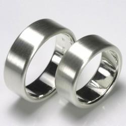 Flat wedding rings, 925 silver