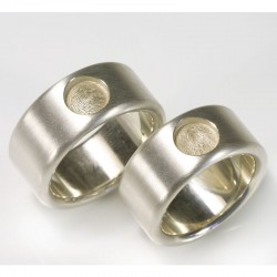 Wedding rings with fingerprint, 925 silver