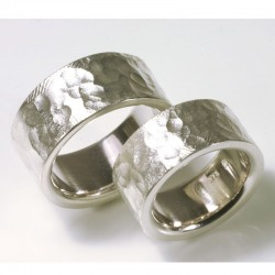 Wedding rings with structure, 925 silver