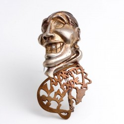 Pirate brooch, 925 silver, copper, diamond