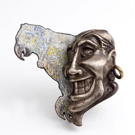 Pirate brooch, 925 silver, steel, enamel