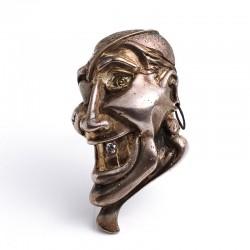 Pirate brooch, 925 silver, steel, zirconia