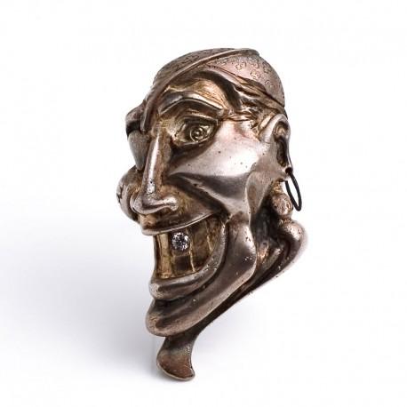 Piratenbrosche, 925- Silber, Stahl, Zirkonia