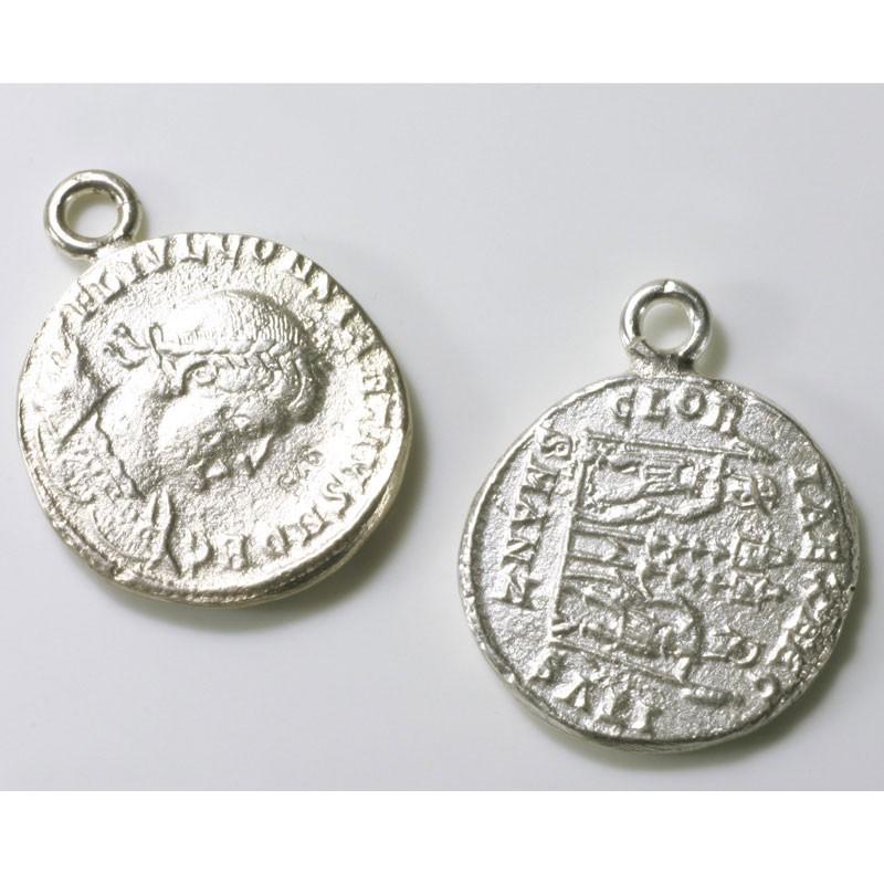 Charm Anhänger Römische Münze 925 Silber Trimetall Goldschmiede