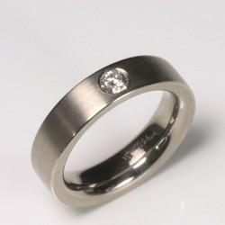 Ring, 750- Weißgold, Brillant 0,2 ct
