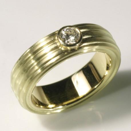 Ring, 750 gold, brilliant-cut diamond, 0.26 ct