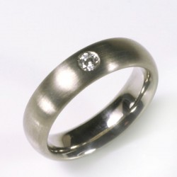 Ring, 585 white gold, diamond 0,1 ct