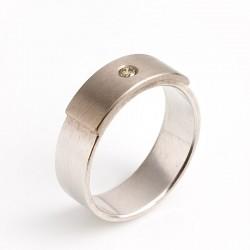 Ring, 925 silver, 950 palladium, diamond 0.06 ct