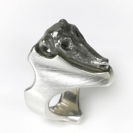 Kopfring, 925- Silber, Edelstahl