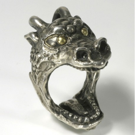 Dragon ring, 925 silver, with 900 gold eyes
